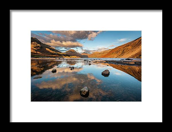 Sunrise Framed Print featuring the photograph Sunset at Wast Water #3, Wasdale, Lake District, England by Anthony Lawlor