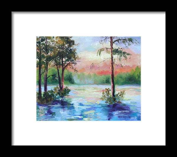 Sunset Framed Print featuring the painting Sunset Bayou by Ginger Concepcion