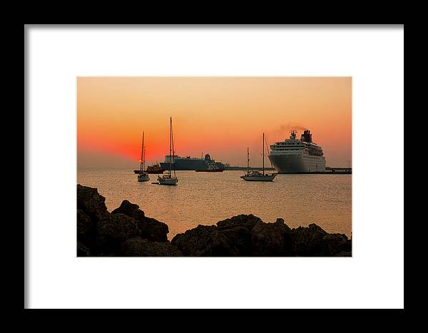 Sunset Framed Print featuring the photograph Sunset, Boats And Sea by Anna Kluba