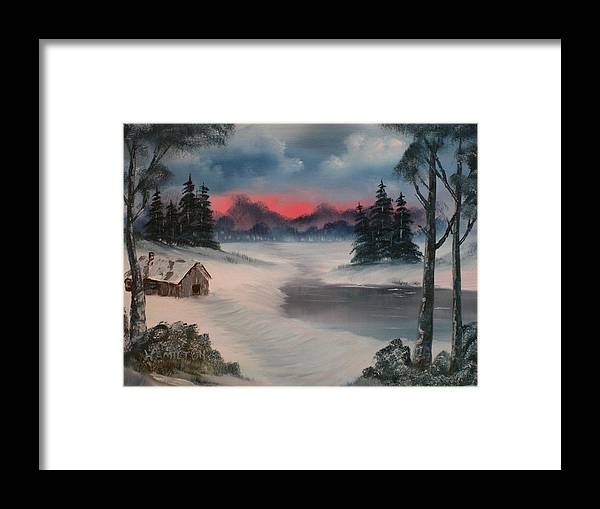 Oil Framed Print featuring the painting Sunset By The Lake by Larry Hamilton