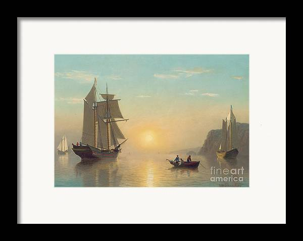 Boat Framed Print featuring the painting Sunset Calm In The Bay Of Fundy by William Bradford