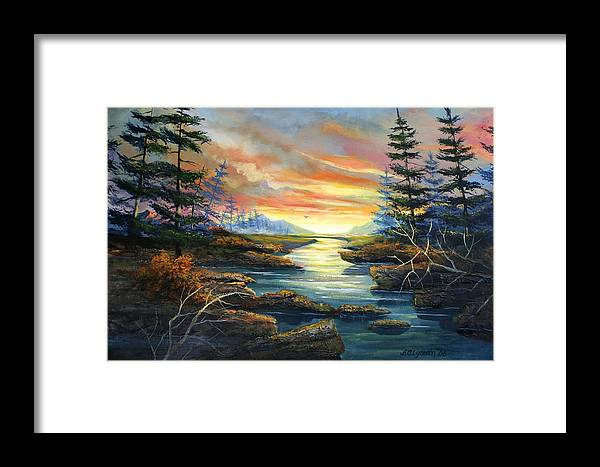 Landscape Framed Print featuring the painting Sunset Creek by Brooke Lyman