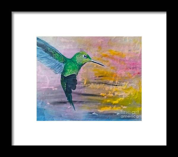 Hummingbird Framed Print featuring the painting Sunset Dancer by J Bauer