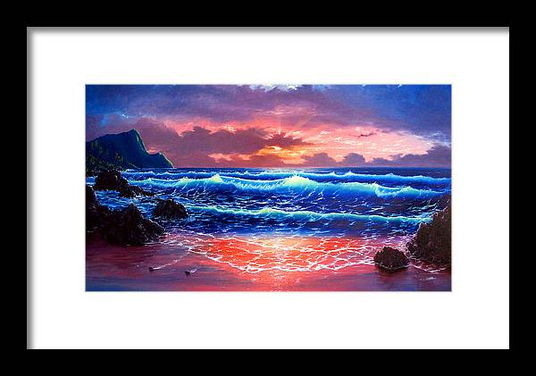 Sea Framed Print featuring the painting Sunset by Daniel Bergren