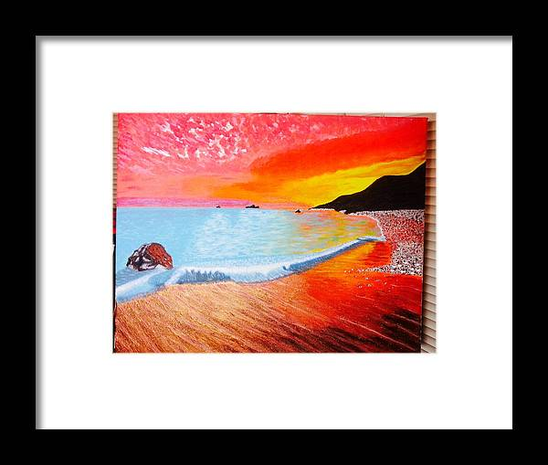 Sunset Framed Print featuring the painting Sunset by Denise Deskin