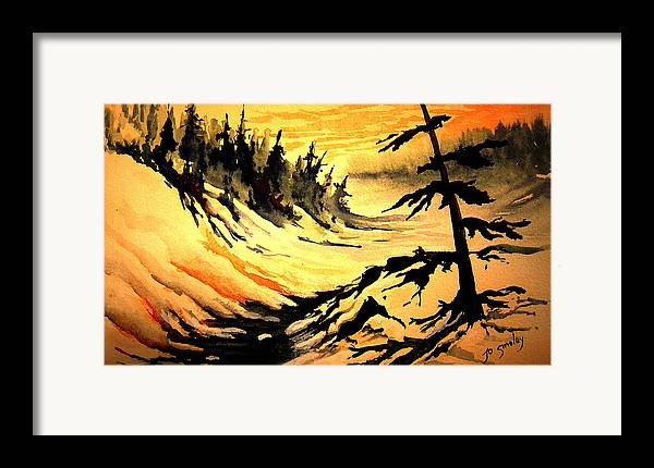 Sunset Extreme Framed Print featuring the painting Sunset Extreme by Joanne Smoley