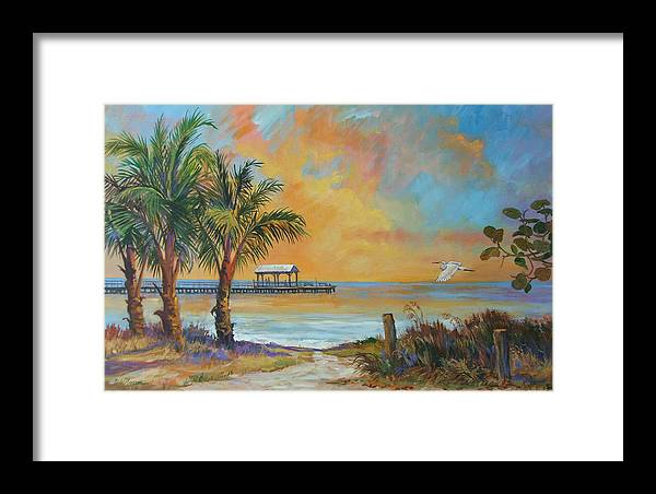 Beach Framed Print featuring the painting Sunset Flight by Dianna Willman