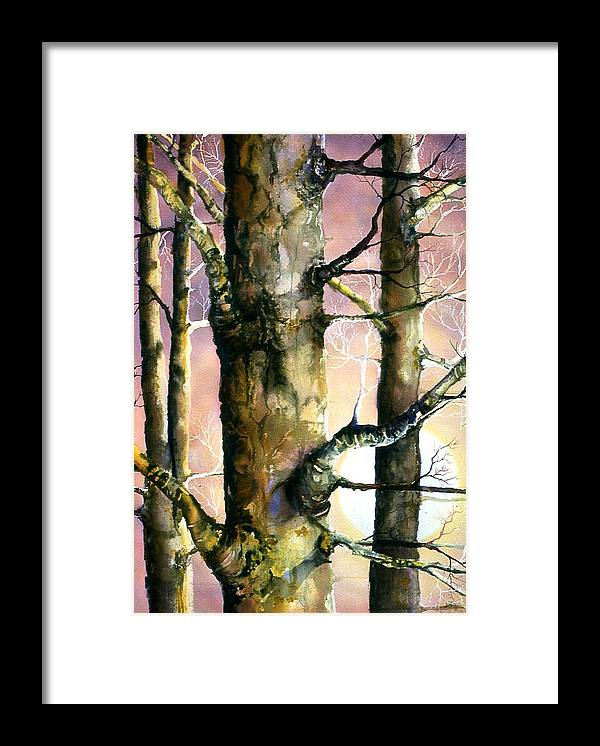 Trees Framed Print featuring the painting Sunset Forest by Connie Williams