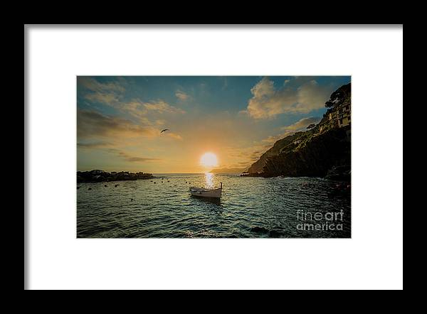 Travel Framed Print featuring the photograph Sunset in Cinque Terre by Alex Dudley