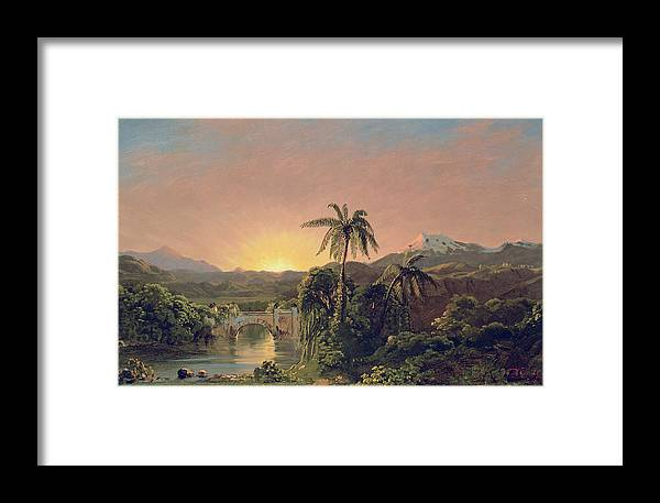Sunset Sunset In Equador (oil On Canvas) By Frederic Edwin Church (1826-1900) Framed Print featuring the painting Sunset In Equador by Frederic Edwin Church