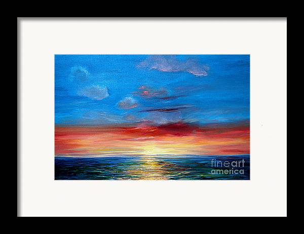 Seasca[e.ainting Framed Print featuring the painting Sunset In Florida Key West. by Jeannette Ulrich