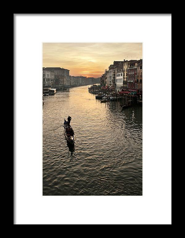 Venezia Framed Print featuring the photograph Sunset In Grand Canal by Marco Missiaja