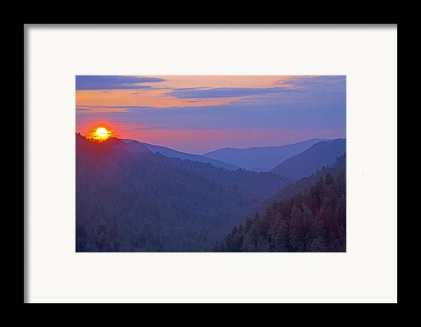 Sunset Framed Print featuring the photograph Sunset In Great Smoky Mountain National Park Tennessee by Brendan Reals
