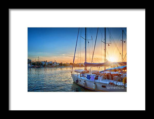 Greece Framed Print featuring the photograph Sunset In Kos by Delphimages Photo Creations