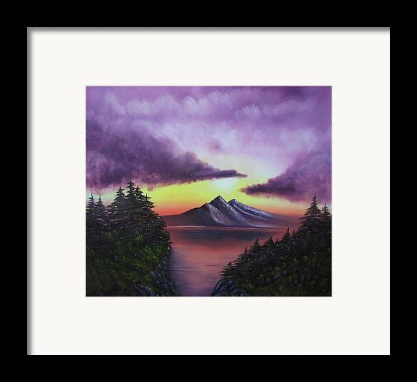 Sunset Framed Print featuring the painting Sunset In Mountains Original Oil Painting by Natalja Picugina