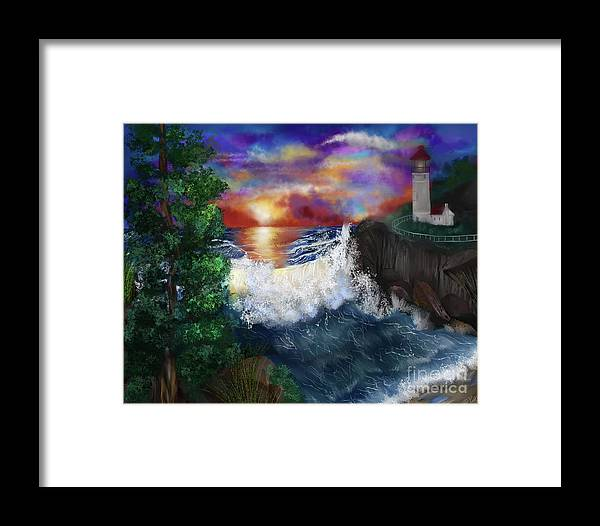 Cove Framed Print featuring the painting Sunset In The Cove by Mia Hansen