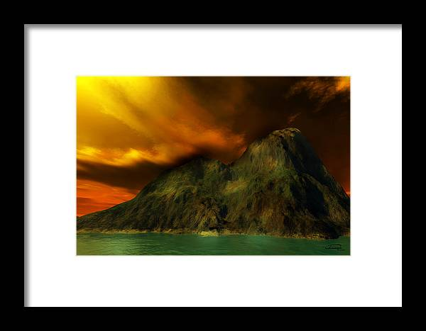 Sunset Framed Print featuring the painting Sunset In The Island by Emma Alvarez