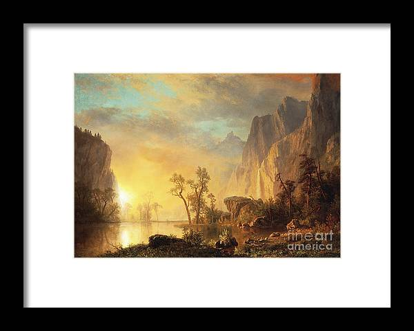 Bierstadt Framed Print featuring the painting Sunset in the Rockies by Albert Bierstadt