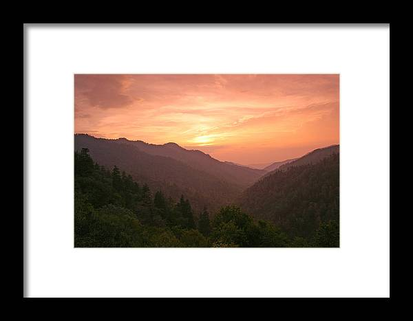 Landscape Framed Print featuring the photograph Sunset In The Smokies. by Itai Minovitz