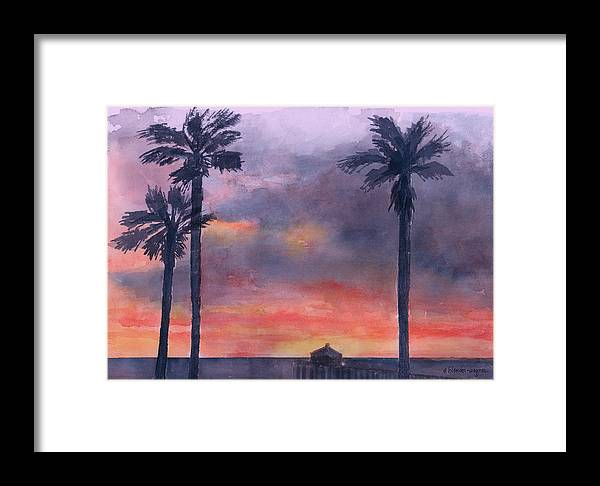 Sunset Framed Print featuring the painting Sunset In The Tropics by Arline Wagner