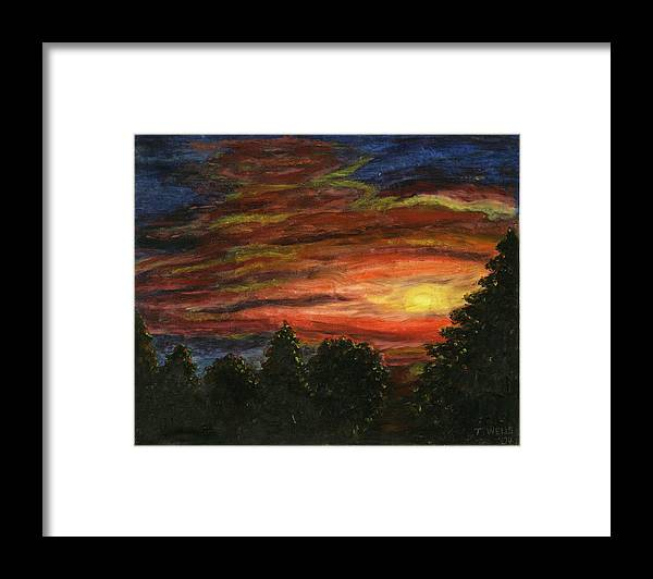 Sunset In Washington State Framed Print featuring the painting Sunset in Washington State by Tanna Lee M Wells