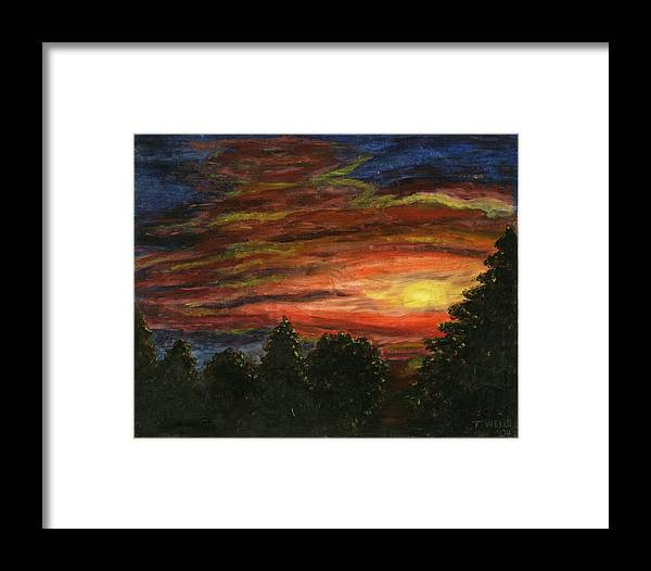 Sunset In Washington State Framed Print featuring the painting Sunset In Washington State by Tanna Lee M Wells