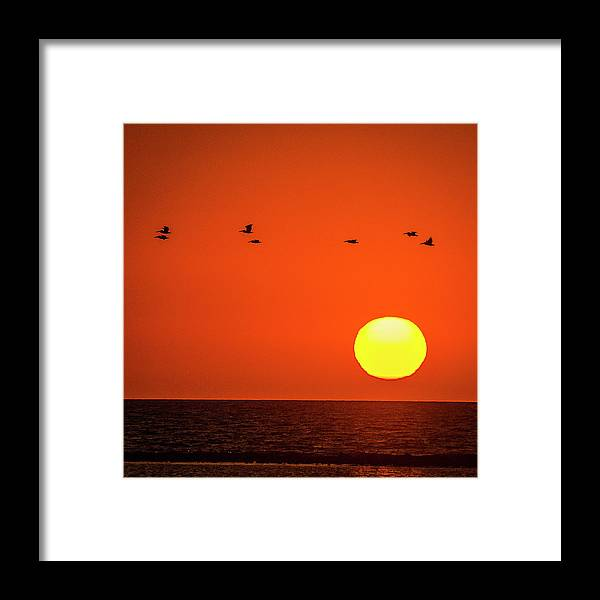 Ocean Framed Print featuring the photograph Sunset by James Burton