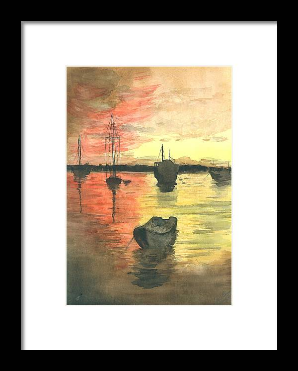 Sunset Cloudy Sky Framed Print featuring the painting Sunset Lagoon by Dan Bozich