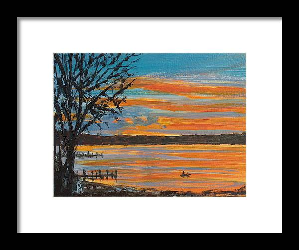 Lakescape Framed Print featuring the painting Sunset Lake by Pete Maier