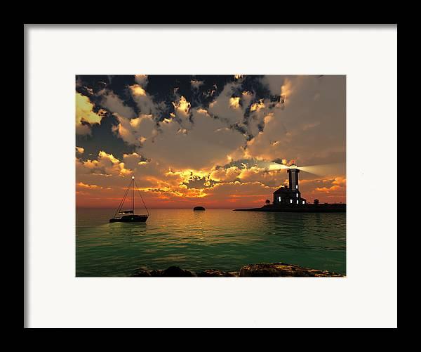 Jim Coe Framed Print featuring the digital art Sunset Lighthouse by Jim Coe