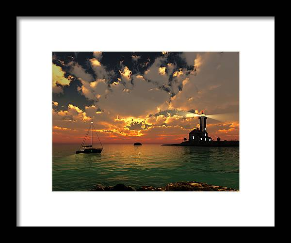 Jim Coe Framed Print featuring the digital art Sunset Lighthouse by Jim Coe