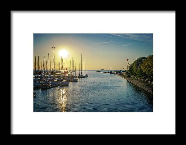 Baltic Framed Print featuring the pyrography Sunset by Maksim Kozlov