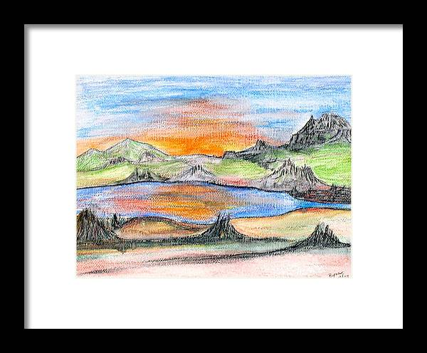 Framed Print featuring the painting Sunset by Margie Byrne