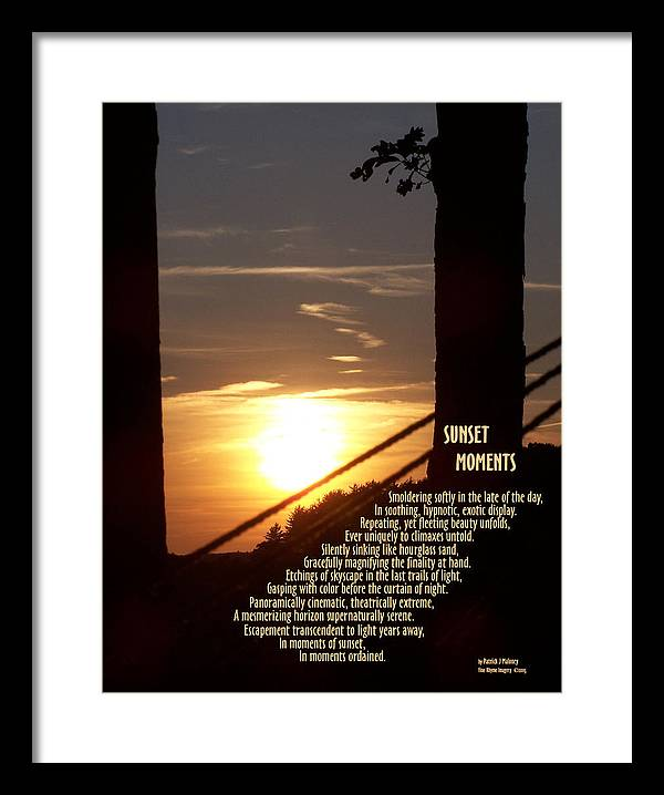 Poetry Framed Print featuring the mixed media Sunset Moments IIi by Patrick J Maloney