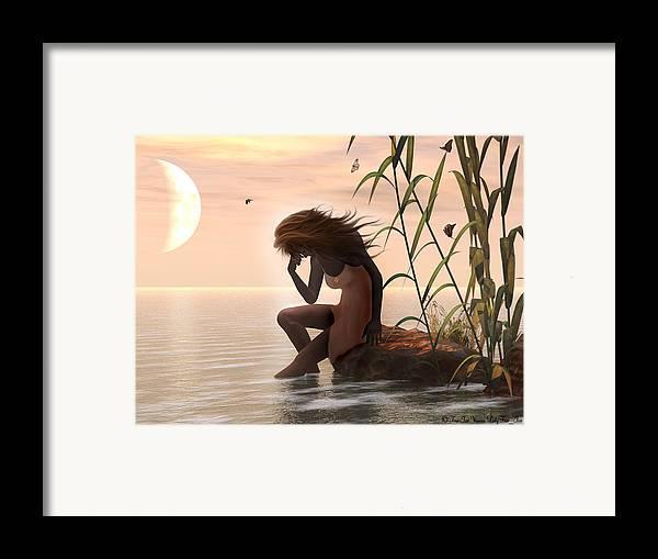 Digital Art Framed Print featuring the digital art Sunset Mourning by Linda Ebarb