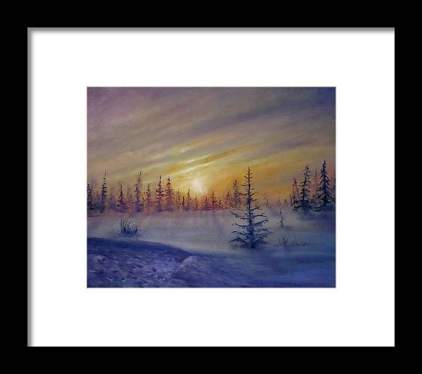 Winter Framed Print featuring the painting Sunset by Natalja Picugina