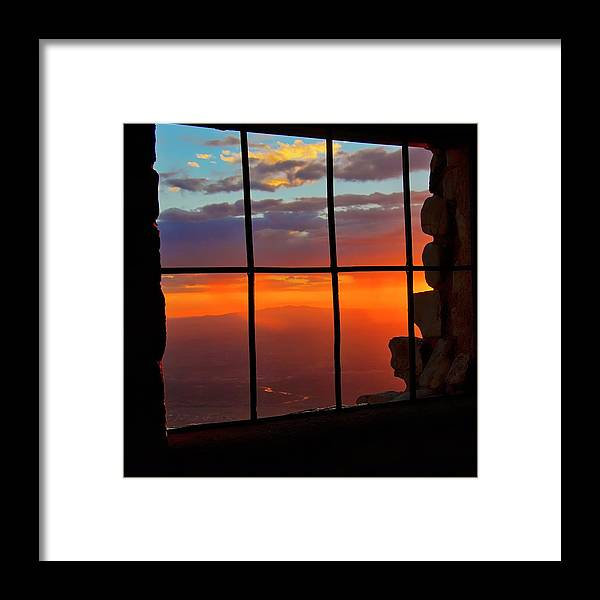 Fine Art Photography Framed Print featuring the photograph Sunset on Albuquerque's Rio Grande Valley by Zayne Diamond Photographic