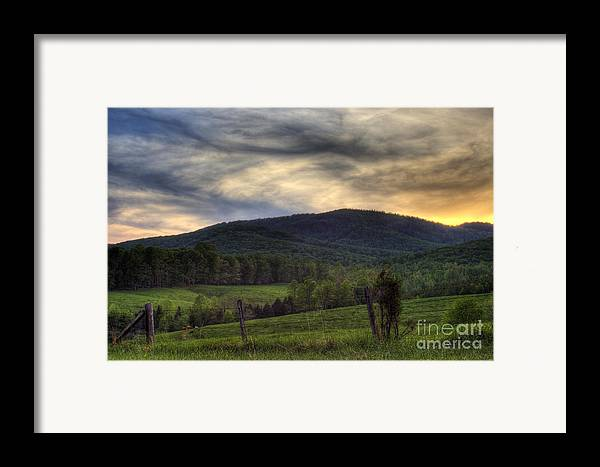 Landscape Framed Print featuring the photograph Sunset On Appleberry Mountain 2 by Pete Hellmann