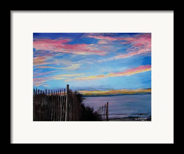Sunset Framed Print featuring the painting Sunset On Cape Cod Bay by Jack Skinner