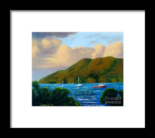 Sunset Framed Print featuring the painting Sunset On Cruz Bay by Laurie Morgan
