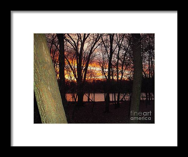 Framed Print featuring the photograph Sunset On Fox River by Deborah Finley