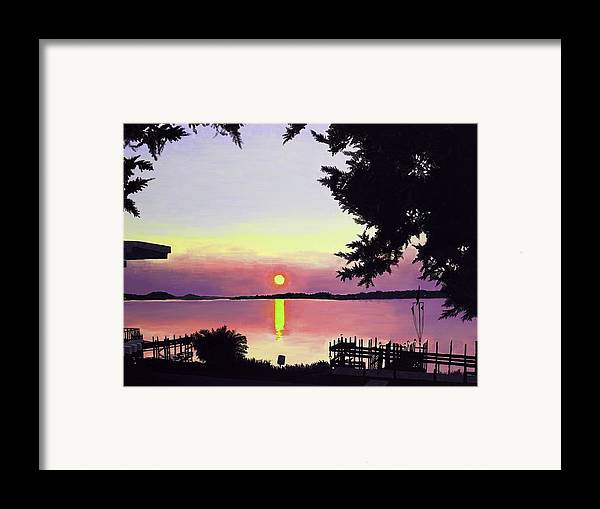 Sunset On Lake Framed Print featuring the painting Sunset On Lake Dora by Judy Swerlick