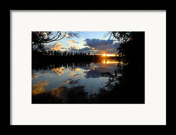 Boundary Waters Canoe Area Wilderness Framed Print featuring the photograph Sunset On Polly Lake by Larry Ricker
