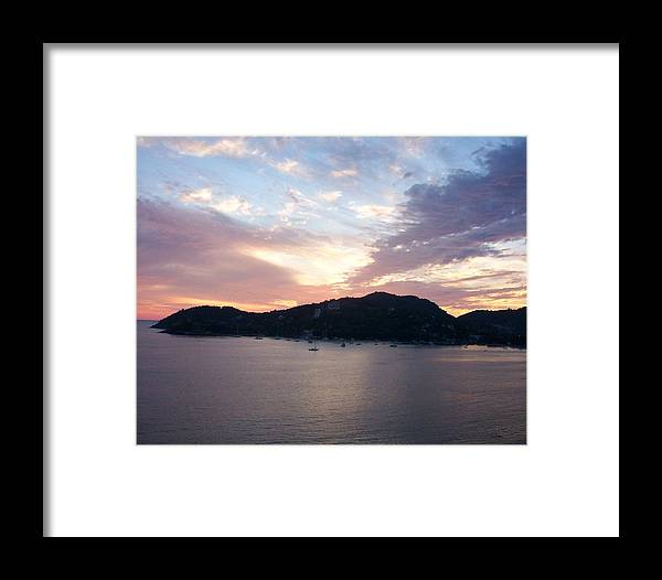 Zihautanejo Framed Print featuring the photograph Sunset On The Bay by James Johnstone