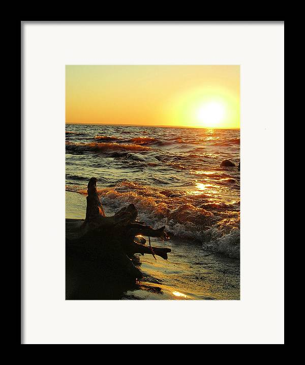 Sunset Framed Print featuring the photograph Sunset On The Beach by Peter Mowry