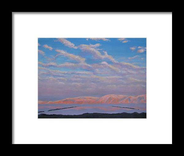Sunset Framed Print featuring the painting Sunset On The Dead Sea In Israel by Art Nomad Sandra Hansen