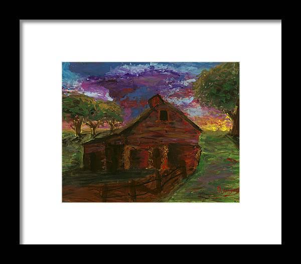 Barn Framed Print featuring the painting Sunset On The Farm by Davis Elliott