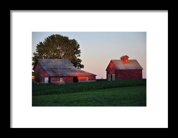 Farm Framed Print featuring the photograph Sunset On The Farm by Gwen Allen