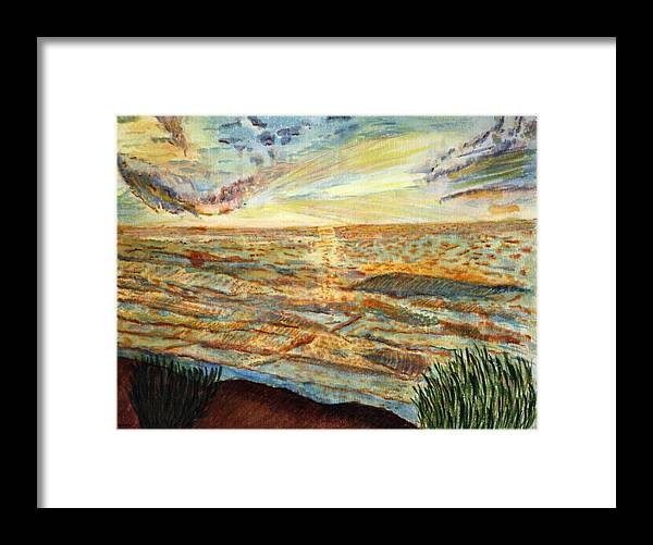 Landcape Great Sea Painting Artwork Watercolor Framed Print featuring the painting Sunset On The Great Sea. by Shlomo Zangilevitch