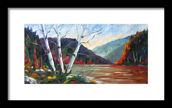 Landscape; Landscapes/scenic; Birches;sun;lake;pranke Framed Print featuring the painting Sunset On The Lake by Richard T Pranke